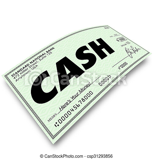 cash word on paper check payment money paid cash word on a paper