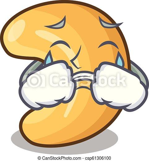 cashew noten, warme, het schreeuwen, tafel, bakt, spotprent - csp61306100