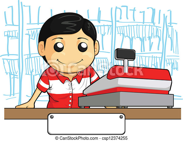 Cashier Employee with Friendly Smil - csp12374255