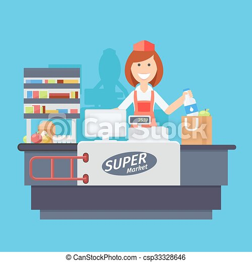 Cashier. Supermarket store counter desk equipment and ...