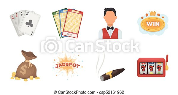 Casino and gambling icons in set collection for design. Casinos and equipment vector symbol stock web illustration. - csp52161962