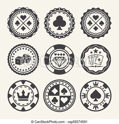 Casino And Poker Chips Vector Round Badges Casino And Poker Chips Set Of Vector Round Black Badges Canstock