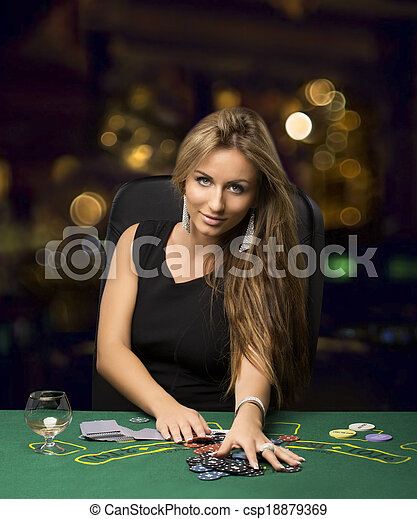 casino, bokeh, blonds, girl, poker jouant - csp18879369