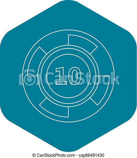 Casino chip icon, outline style - csp66491430