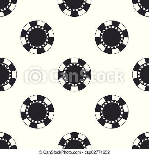 Casino chip icon seamless pattern on white background. Flat design. Vector Illustration - csp62771652