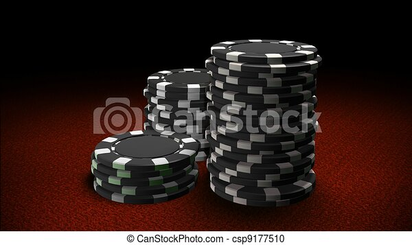 Casino chips black red table  - csp9177510