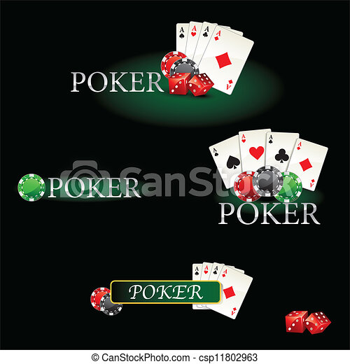 Casino elements Poker cards and chi - csp11802963