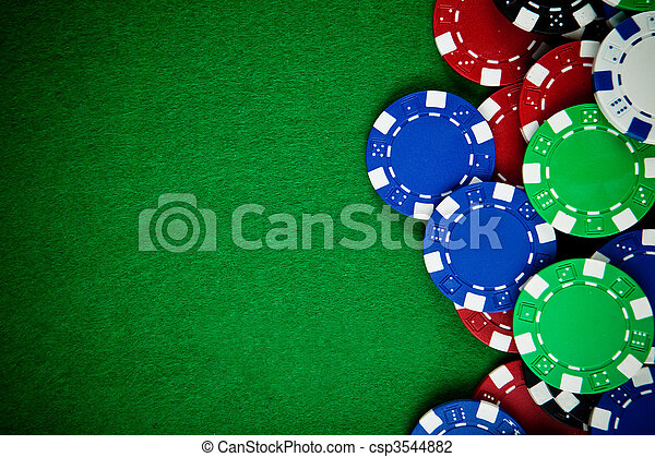 Casino gambling chips with copy space - csp3544882