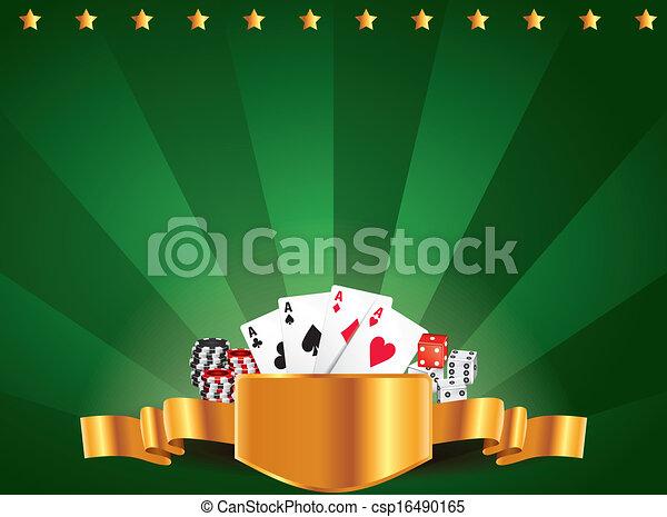 Casino green luxury horizontal background - csp16490165