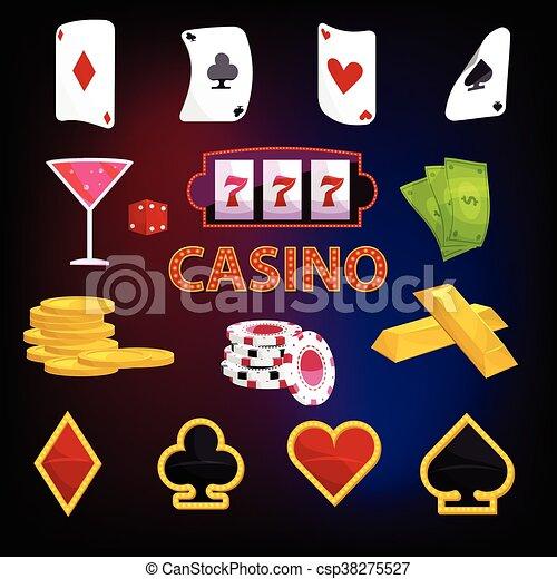 Casino icons set, cartoon style - csp38275527
