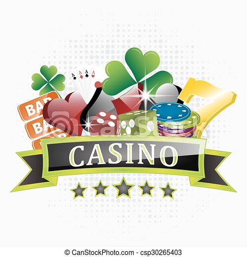 Casino illustration with chips, card symbols, playing cards, dice and lucky seven symbol. - csp30265403