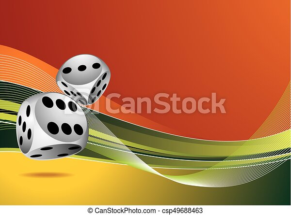 casino illustration with two dice on color background - csp49688463
