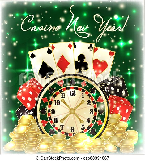 Casino New 2021 Year Invitation Background With Poker Cards Roulette Golden Coins Vector Illustration Canstock