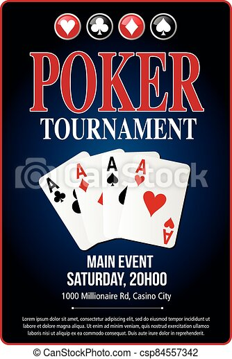 Casino Poker Tournament background blue template design - csp84557342