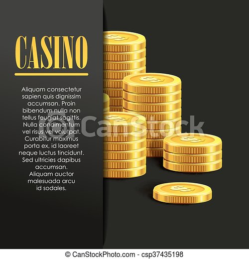 casino poster background or flyer with golden money coins vector