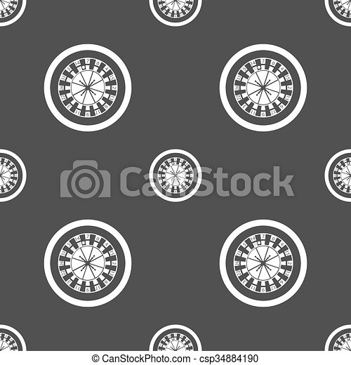 casino roulette wheel icon sign. Seamless pattern on a gray background. Vector - csp34884190
