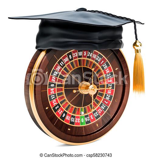 Casino roulette with graduation cap. 3D rendering - csp58230743