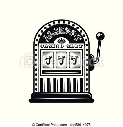 Casino slot machine vector monochrome style object - csp58614275