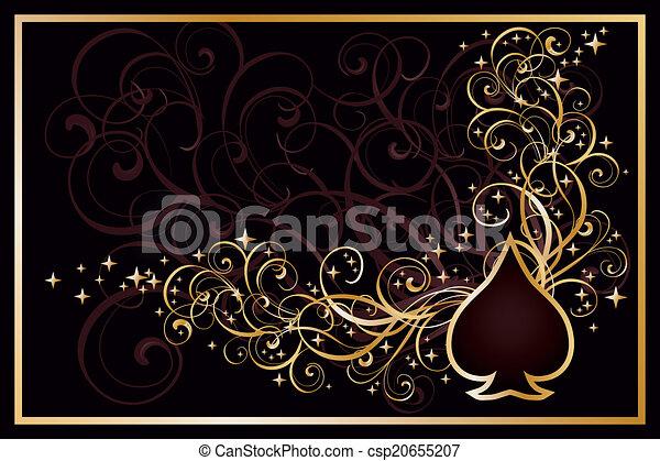 Casino spades golden card, vector  - csp20655207