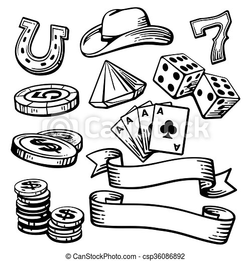 Casino pone símbolos y estetson. - csp36086892