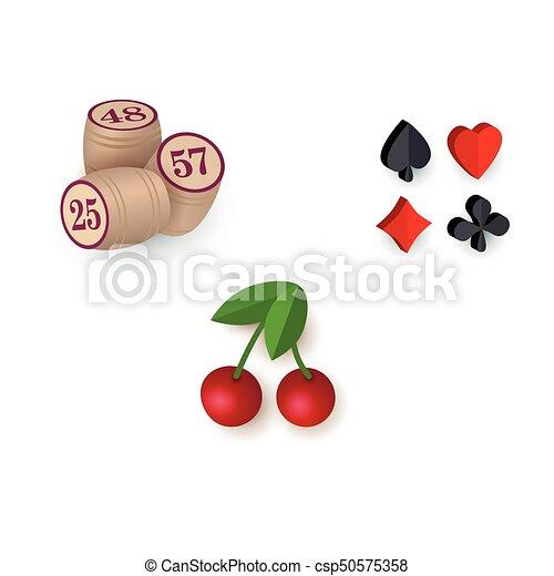 casino symbols suits bingo kegs jackpot cherry set of casino
