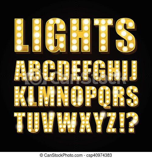 casino, vecteur, ou, lettres, jaune, theather, néon lampe, exposition, police - csp40974383