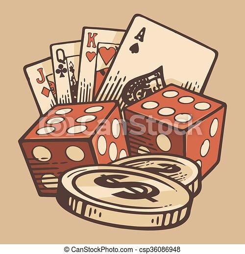 Casino Vector Set vintage handmade symbols. Retro design. - csp36086948