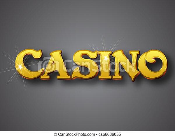 Line Art Vector Illustrator : Casino write in big gold d font vector illustrator format