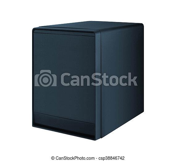 Caso de computadora aislado en el fondo blanco - csp38846742
