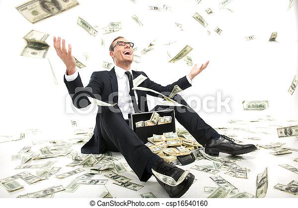 caso, cheio, sentando, jogar, dinheiro, rich!, jovem, formalwear, cima, moeda corrente, enquanto, papel, homem negócios, feliz - csp16540160