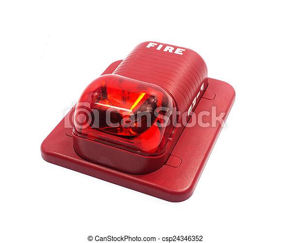 caso, construído, fogo, luz, alarme, alerta, strobe - csp24346352
