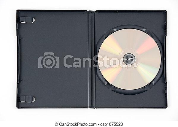 Un DVD dorado en una caja negra - csp1875520