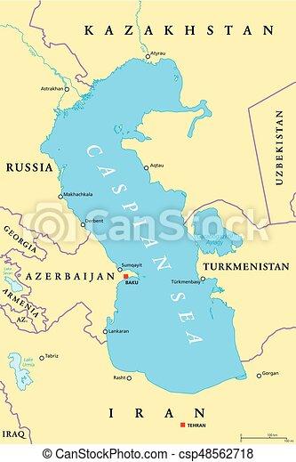 Kazakhstan Political Map.Caspian Sea Region Political Map With Most Important Cities Borders