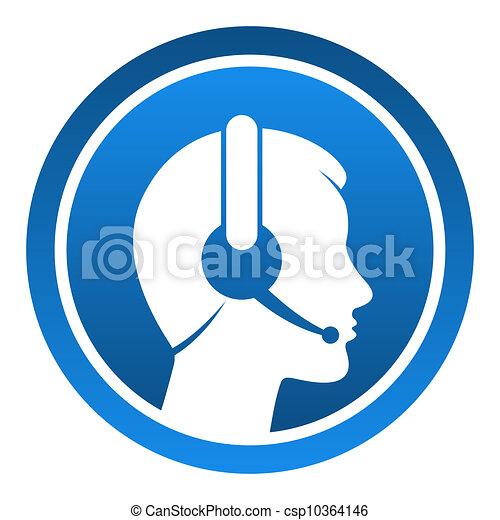 casque à écouteurs, contact, icône - csp10364146