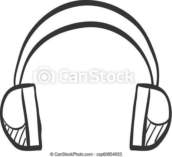 casque à écouteurs, croquis, audio, , icône