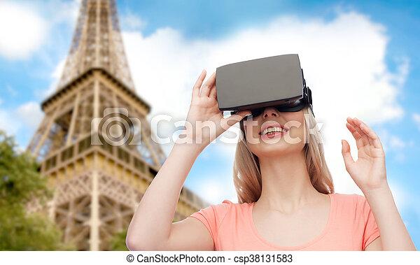 casque à écouteurs, femme, réalité virtuelle, 3d, ou, lunettes - csp38131583
