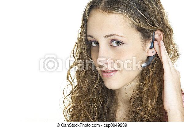 casque à écouteurs, girl - csp0049239