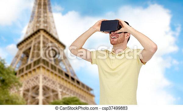 casque à écouteurs, lunettes, réalité virtuelle, homme, 3d, ou, heureux - csp37499883