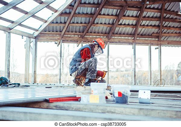 casque, construction, homme - csp38733005
