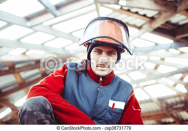 casque, construction, homme - csp38731779