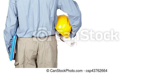 casque, ingénieur, blueprint. - csp43762664
