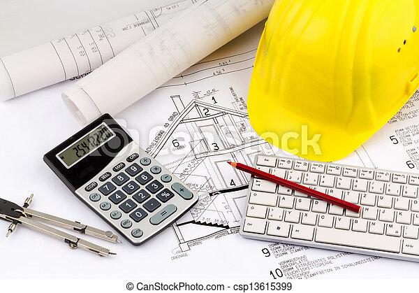 casque, ouvrier construction, plan, maison - csp13615399