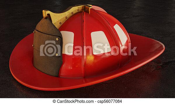casque, pompier, asphalte, vide - csp56077084