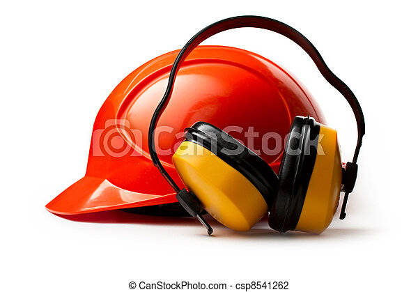 casque, sécurité, rouges, écouteurs - csp8541262