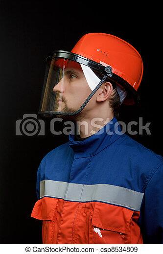 casque, salopette, ouvrier - csp8534809