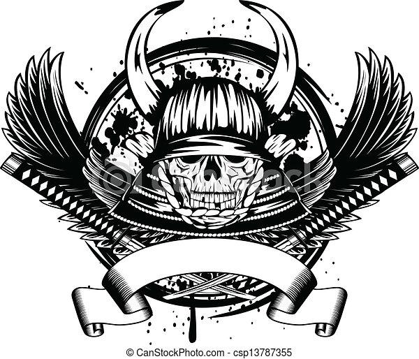 casque, samouraï, ailes, crâne, cornes - csp13787355