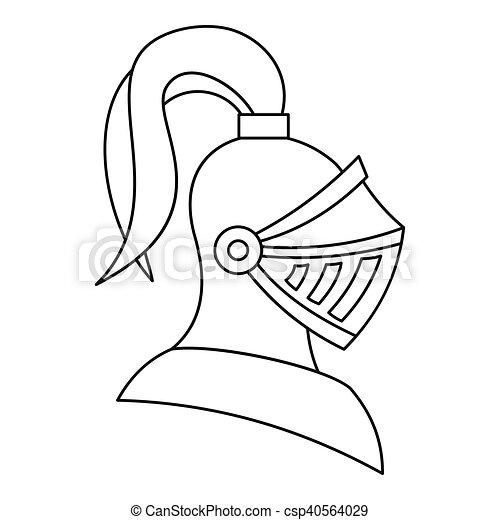 Casque style moyen ge chevalier ic ne contour style contour illustration vecteur fond - Dessins moyen age ...