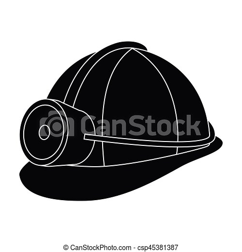 casque style vecteur illustration symbole mineur unique protection noir. Black Bedroom Furniture Sets. Home Design Ideas