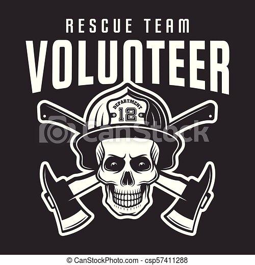 casque, volontaire, pompier, crâne, texte - csp57411288
