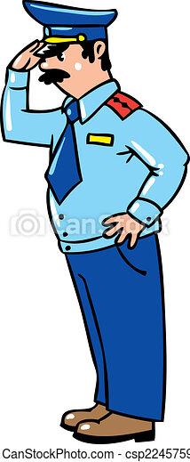 Casquette courageux salutes uniforme policier - Dessin policier ...